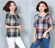 Folk style 2016 autumn new women's long sleeved Plaid Shirt linen cotton loose slim size shirt female tide