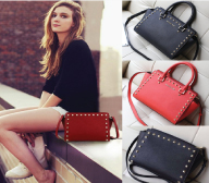 2016 new high-end cross pattern portable Shoulder Messenger Bag rivets smile genuine leather female bag mail package wings